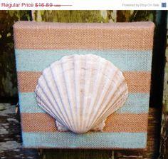 Labor Day Sale Sea Shell Wall Art / Painted Burlap Canvas Beach Art /  Seafoam Green / Beach Cottage Decor / Beachy Chic Sea Shell Home Deco on Etsy, $13.51