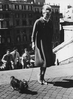 """Subindo as escadarias da Piazza di Spagna, em Roma, com um de seus cachorrinhos yorkshire terrier. O primeiro yorshire da atriz foi Mr. Famous, que fez uma participação no musical """"Cinderela em Paris"""". O pet foi atropelado durante as filmagens de """"The Children's Hour"""", drama no qual Audrey atua ao lado de Shirley MacLaine. Depois da morte do cachorro, Audrey ganhou de seu marido na época, o ator Mel Ferrer, outro yorshire, este batizado Assam of Assam"""