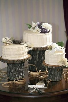 Wedding cake idea. Wood cake stand/s = perfect