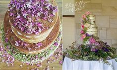 naked cakes by Petit Mignon pistachio rose cake left, Blissfully Sweet right