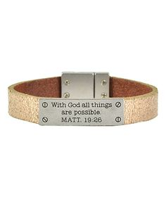 Love this Galaxy Belts Goldtone 'MATT 19:26' Axesoria Leather Bracelet by Galaxy Belts on #zulily! #zulilyfinds