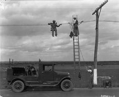 Wisconsin Historical Society has awesome rural life images. I love this one, putting up new telephone lines or maybe electrical wire. It looks like they are dangling in thin air because, well, they are Old Pictures, Old Photos, Vintage Photographs, Vintage Photos, Sign Installation, White Tractor, Telephone Line, Utility Truck, Historic Properties
