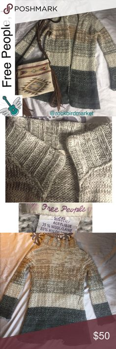 "Free People, long wool blend cardigan, L This sweater is in lightly used condition. The belt is missing so it's a steal of a deal!  No oulls or stains. About 32"" in length.  I am a suggested user and a five star closet. Check my reviews and buy with confidence!  Thank you. Free People Sweaters Cardigans"