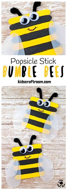 POPSICLE STICK BEE CRAFT - Here's something to get you buzzing! These bumble bees are easy to make and adorable. With vibrant yellow and black stripes and cleverly made translucent wings they look quite the buzziness!  This is such a lovely bee craft for Spring and Summer. #bee #beecrafts #beecraft #kidscrafts #craftsforkids #kidscraftroom #popsiclesticks #posiclestickcrafts #bees #bumblebees #insects #insectcrafts #bumblebee #springcrafts #summercrafts via @KidsCraftRoom