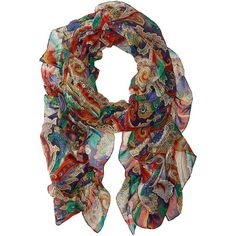 LAUREN Ralph Lauren Nidia Scarf (Capri Navy) Scarves ($46) ❤ liked on Polyvore featuring accessories, scarves, multi, silk scarves, navy blue scarves, colorful scarves, paisley shawl and silk ruffle scarf