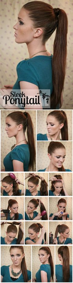 sleek ponytail hair for girls by clip in black human hair extensions