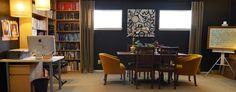 La Maison Boheme: Art Studio, black walls, Behr paint, converted garage. Photo by Sarah Greenman.