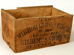 "Mirror Gloss Starch by Gilbert S Graves Buffalo NY Wooden Box. Box measures 6"" tall, 7"" wide, and 11 inches long."