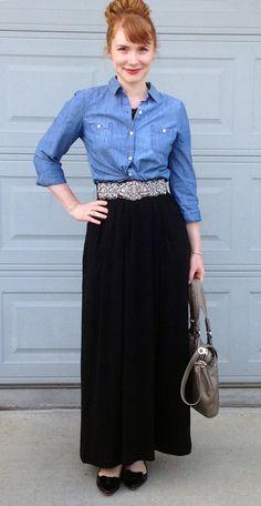 Gap maxi dress; Old navy chambray shirt; anthropologie jewel belt; maxi dress worn as skirt