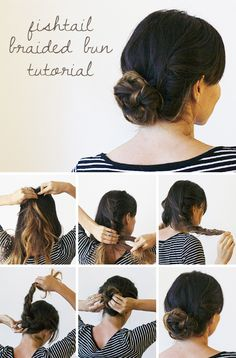 A fishtail braided bun is perfect for any time of year.