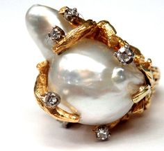 um.  hmmm.  18K Yellow Gold Baroque Pearl & Diamond Coral Style Cocktail Ring  #Cocktail