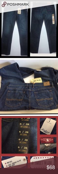 Sweet an Low Jeans Comfy Lucky Brand jeans, they are called Sweet-n-low , size 6/28 Long...mid rise, easy through the hip an thigh, boot cut...99% cotton 1% spandex/elastin ...NWT...B-2 Lucky Brand Jeans