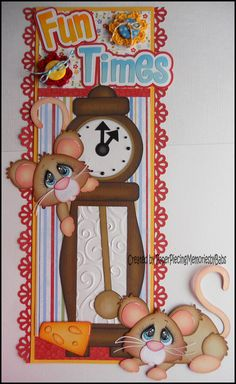 Premade Paper Pieced Fun Times Mouse Border for Scrapbook Pages by Babs