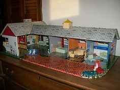 Great Vintage 1950's tin Marx Ranch Dollhouse full of Marx furniture and family!