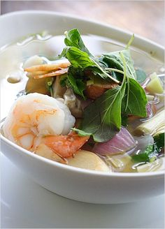 Aura Soup: Hot n' sour seafood medley with sole fish, shrimp, calamari, imitation crab and New Zealand mussel.