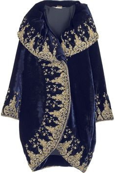 Blue velvet cocoon coat with oversize portrait collar. Opulent gold embroidered border. By Alexander McQueen