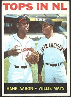 """""""Tops in NL"""" 1964 baseball card featuring Hank Aaron and Willie Mays"""
