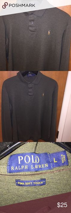 Ralph Lauren Long Sleeve Polo - Sz Large Excellent New Like Condition- So soft - Pima Soft Touch Polo by Ralph Lauren Shirts Polos