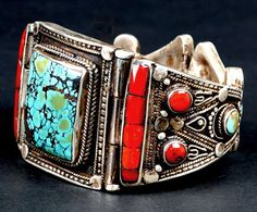 Tibetian coral and turquoise