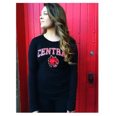 Black sleeved top. Blocked Central with Cathead logo. Central Washington University. CWU. - CWU Wildcats Wildcats. Shop online: http://cwubookstore.collegestoreonline.com/ePOS?form=item.html&item=41000132105&store=201