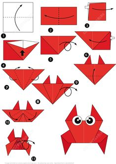 How to Make an Origami Crab Step by Step Instructions | Super Coloring