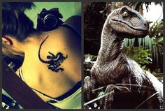 Tattoo<3 My tattoo which I got for my birthday back in January. This was taken the day I got it. Next to it is the Velociraptor from Jurassic Park which is the inspiration for it. Jurassic Park was the first movie my Dad and I saw when I was little so not only is this tattoo for my love of dinos but also for him. Tattoo~