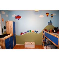 Trains, Airplanes, Cars Room   Wall Stencils For Boys Room Transportation  Theme Wall Mural