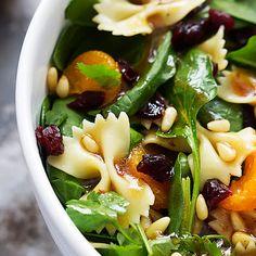 Mandarin Pasta Spinach Salad with Teriyaki Dressing - Creme De La Crumb @keyingredient