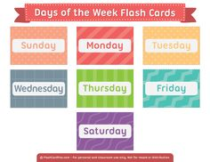Free Printable Days of the Week Flash Cards