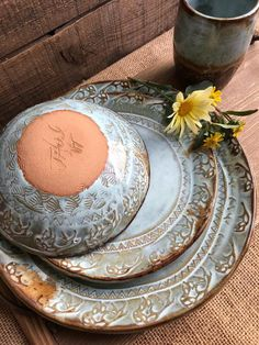 MADE TO ORDER ~ Wild Buffalo Dinnerware Set Including Tumbler ~ Native American ~ Ranch Cabin Kitchen ~ Rustic Vermont Handmade Pottery – Tableware Design 2020 Eclectic Dinnerware, Farmhouse Dinnerware, Dinnerware Sets, Pottery Plates, Slab Pottery, Christmas Dinnerware, Ceramic Tableware, Kitchenware, Kitchen Organization