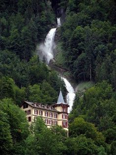 Giessbach Switzerland - The Amazing Fall -Most beautiful waterfall in the Alps. Castle In The Sky, Need A Vacation, Beautiful Waterfalls, Another World, Best Hotels, Alps, Wonders Of The World, Adventure Travel, Switzerland