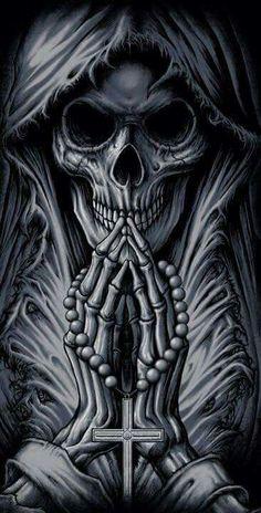 Skull with rosary