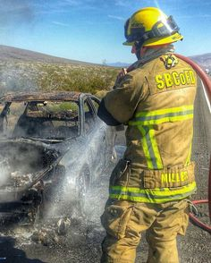 """FEATURED POST   @local935 -  Firefighter/Paramedic Brandon Miller overhauls a recent vehicle fire on Interstate 40 near Kelbaker Rd.  Medic Engine 31 covers nearly 60 miles of I40 all the way to the Arizona stateline. Photo credit @jsor78  ___Want to be featured? _____ Use #chiefmiller in your post ... . CHECK OUT THIS COOL SHIRT! ....""""OFF DUTY SAVE YOURSELF """"  .... .. http://ift.tt/1WlY7ZM   Free shipping Promo code: Irishluck  By:Chicagofirewire.com  #fire #firetruck #firedepartment…"""