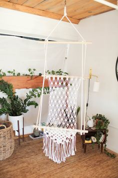 hanging chair DIY Hanging Macrame Chair — The Sorry Girls Macrame Hanging Chair, Macrame Chairs, Diy Hanging, Hanging Plants, Hanging Chairs, Hanging Beds, Plants Indoor, Outdoor Plants, Diy Hammock