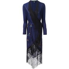 Jean Paul Gaultier Vintage Kimono-Style Gown ($2,897) ❤ liked on Polyvore featuring dresses, gowns, blue, jean paul gaultier, summer dresses, blue summer dress, blue evening dresses, curved hem dress and tassel dress
