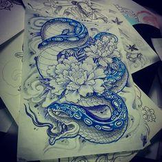 Blue snake peaonia tattoo sketch draw
