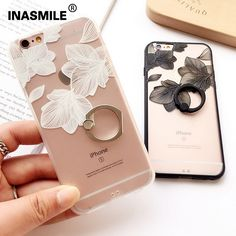 Fashion Ring Grip Cover Case For iPhone 6 6s Plus Black White 3D Lace Flower Mobile Phone Shell Coque Fundas For iPhone 7 Plus