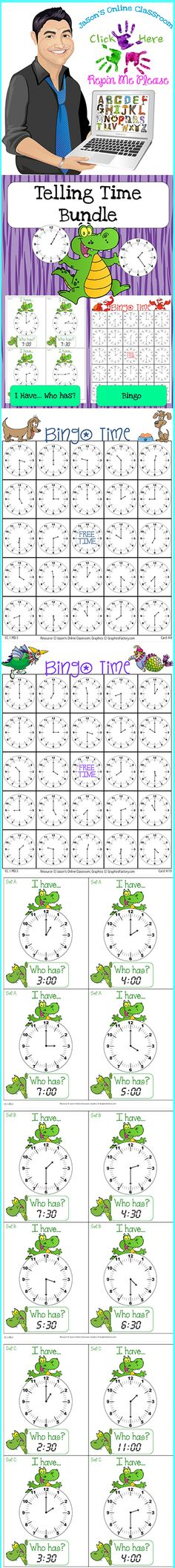 $7 Bundle contains our Telling Time Bingo and I Have Who Has Games bundled together at a lower price than purchasing individually.  Perfect for 1st grade! Click on the link below for more info about the images used to make this resource (Images © Graphics Factory) http://jasonsonlineclassroom.com./graphics-factory/