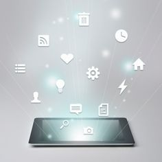 Digital Tablet And Variety Of Icons Stock Photo 159683340