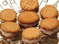Peanut Butter Cookie Sandwiches Stuffed with Grape Jelly Ice Cream recipe from Sweet Dreams via Food Network