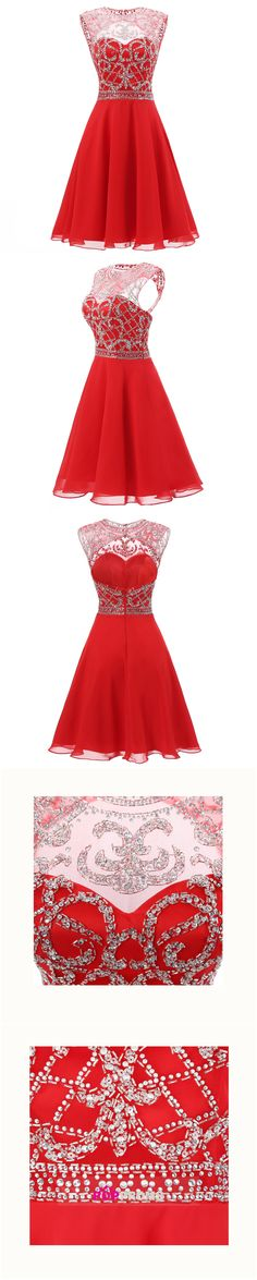 US$159.99-2016 Unique Homecoming Dresses A Line Scoop Short/Mini With Beadings Chiffon