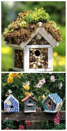 Mosaic birdhouses                                                                                                                                                                                 More