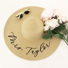 Personalized Sun Hat Floppy Beach Hat Floppy Sun Hat Custom Personalized Floppy Hat  Beach Bride Hat Honeymoon Hat Mrs Hat (EB3270P) by ModParty on Etsy https://www.etsy.com/listing/610208951/personalized-sun-hat-floppy-beach-hat