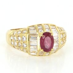 Vintage 18 Karat Yellow Gold Natural Ruby Diamond Cocktail Ring Fine Jewelry