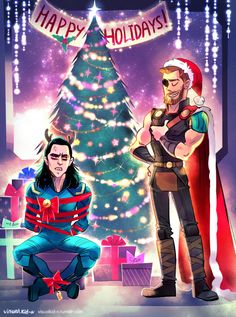 Happy Holidays and Merry Christmas from Loki and Thor without an eye Thor Y Loki, Loki Art, Marvel Art, Marvel Heroes, Marvel Avengers, Marvel Comics, Marvel Jokes, Marvel Wallpaper, Disney Wallpaper