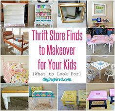 Thrift Store Finds to Makeover for Your Kids- including before and after photos and tips for what to look for while thrifting.