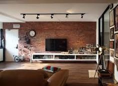 salon con pared de ladrillos - Buscar con Google