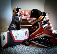 BABY HOCKEY BOY Boston Bruins pacifier not included, Grandmabilt Crochet Outfit…