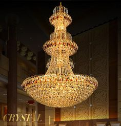 Large modern led chandelier luxury K9 Gold crystal chandelier lighting lustres de cristal Upscale Lustre crystal chandeliers