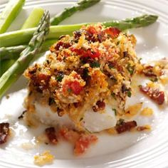 Bacon & Tomato-Topped Haddock Recipe -  1 fillet equals 405 calories, 22 g fat (6 g saturated fat), 123 mg cholesterol, 514 mg sodium, 13 g carbohydrate, 1 g fiber, 38 g protein.